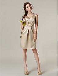 cheap -Sheath / Column V-neck Knee Length Satin Bridesmaid Dress with Pockets Side Draping by LAN TING BRIDE®