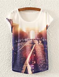 baratos -Mulheres Camiseta Flor, Floral Algodão
