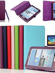 abordables -SHI CHENG DA Coque Pour Samsung Galaxy Samsung Galaxy Coque Avec Support / Clapet Coque Intégrale Couleur Pleine faux cuir pour Tab 2 7.0