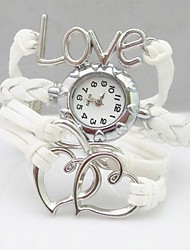 cheap -Women's Bracelet Watch Fashion Watch Quartz Casual Watch PU Band Heart shape Bohemian White