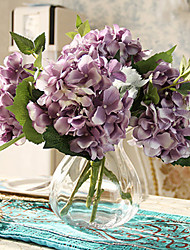 Five Purple Hyfrangeas Artifical Flowers with Vase