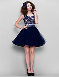 Недорогие -Бальное платье с коротким рукавом / мини-тюль-платье с бисером от ts couture®