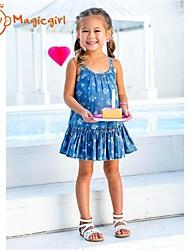 abordables -Vestido Chica de Algodón Sin Mangas Verano Azul