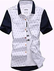 Masculino Camisa Casual Cor Solida Manga Curta Algodão / Poliéster Azul / Branco