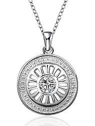 Недорогие -Жен. Круглый Свисающие Классический Милая Ожерелья с подвесками Циркон Серебрянное покрытие Ожерелья с подвесками , Для вечеринок