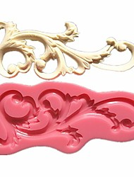 cheap -Roll Leaf European Relief Lace Mold Cake Border Fondant Cake Molds Chocolate Mould