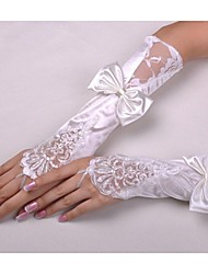 Elbow Length Glove Bridal Gloves Party/ Evening Gloves With Beading Bow