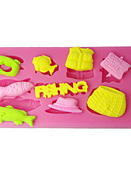 cheap -Silicone Mold Fishing Tools Cake Design Moulds