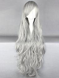 abordables -Pelucas sintéticas Rizado Corte a capas Pelo sintético Entradas Naturales Gris Oscuro Peluca Mujer Larga Sin Tapa