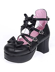 cheap -Lolita Shoes Sweet Lolita Classic/Traditional Lolita Lolita High Heel Shoes Bowknot 7.5 CM Pink Black White ForPU Leather/Polyurethane