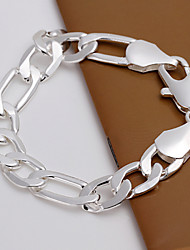 Simple Generous Men's Shrimp Buckle Silver Plated Brass  Chain & Link Bracelets(Silver)(1Pc)