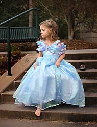 Vestito Girl Estate Organza Blu Fantasia floreale