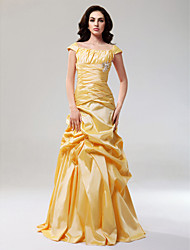 A-Line Princess Off-the-shoulder Floor Length Taffeta Prom Dress with Draping by TS Couture®