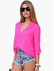 economico -DONNE - Camicie casual - Informale Scollo a V - Maniche lunghe Chiffon