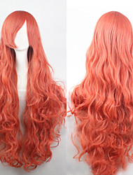 cheap -The new European and American high-temperature  Deep Pink Silk Long Curly Wig 80CM