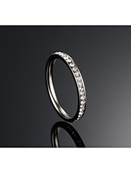 Fashion Crystal Women's Silver Titanium Steel Band Rings(1 Pc)
