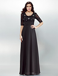 cheap -Sheath / Column / Jumpsuit Square Neck Floor Length Chiffon Cocktail Party / Formal Evening Dress with Crystals / Lace / Ruched by TS Couture® / Illusion Sleeve