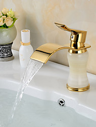 cheap -Contemporary Waterfall Brass Imitation jade Ti-PVD Bathroom Sink Faucet - Golden