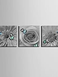 economico -e-Home® allungato su tela fiori e farfalle decorazione pittura set di 3