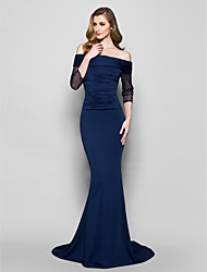 cheap -Mermaid / Trumpet Off-the-shoulder Sweep / Brush Train Tulle Jersey Mother of the Bride Dress with Beading Ruching by LAN TING BRIDE®