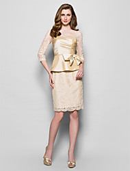 Sheath / Column Jewel Neck Knee Length Lace Taffeta Mother of the Bride Dress with Bow(s) Side Draping by LAN TING BRIDE®