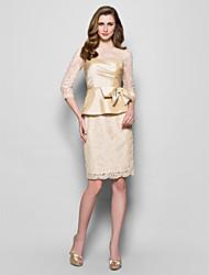 Fourreau / Colonne Bijoux Mi-long Dentelle Taffetas Robe de Mère de Mariée  - Noeud(s) Pan drapé par LAN TING BRIDE®
