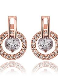 Feminino Brincos Curtos bijuterias Zircão Zircônia Cubica Cobre Rosa Folheado a Ouro 18K ouro Formato Circular Forma Geométrica Jóias Para