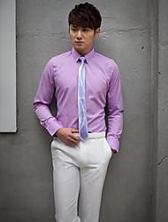 camicia di lavanda solida classica / semi-diffusa del cotone / poliestere lungo del collo per i vestiti