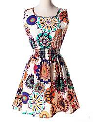povoljno -Žene Ulični šik Skater kroj Haljina - Print, Cvjetni print Iznad koljena