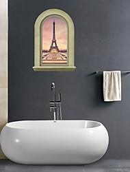 Недорогие -3d наклейки для стен наклейки на стены, Эйфелева башня ванная комната наклейки настенной росписи декора стены PVC