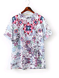 Kortærmet Rund hals Medium Kvinders Flerfarvet Trykt mønster Sommer Simpel Casual/hverdag T-shirt,Bomuld