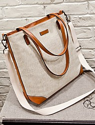 Women Bags Cowhide Canvas Shoulder Bag for Wedding Event/Party Formal Office & Career All Seasons Screen Color