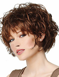 cheap -Synthetic Wig Curly Asymmetrical Haircut Synthetic Hair Cosplay Brown Wig Women's Short Halloween Wig / Carnival Wig Capless Party /