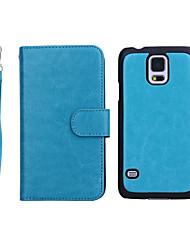 billige -SHI CHENG DA Etui Til Samsung Galaxy Samsung Galaxy Etui Lommebok / Kortholder / Flipp Heldekkende etui Ensfarget ekte lær til S5