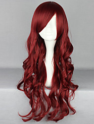 cheap -Synthetic Wig Deep Wave With Bangs With Bangs Side Part Red Women's Carnival Wig Halloween Wig Long Synthetic Hair