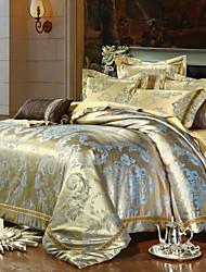 povoljno -Poplun Cover Sets Cvjetni print 4 komada Silk/Cotton Blend Reactive Print Silk/Cotton Blend 4kom (1 duvet Cover, 1 Stan list, 2 Shams)