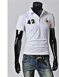 baratos -Homens Camiseta Chique & Moderno Estilo Moderno,Sólido