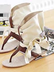 Women's Shoes Flat Heel Slingback Sandals Office & Career/Dress Black/Beige