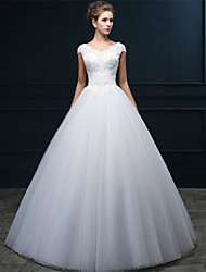 cheap -A-Line V-neck Floor Length Tulle Wedding Dress with Beading Pearl Appliques Criss-Cross by QQC Bridal