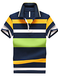 Men's Sports Casual/Daily Plus Size Simple Summer Polo,Striped Shirt Collar Short Sleeves Cotton