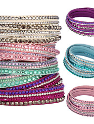 cheap -Women's Crystal Crystal Leather Wrap Bracelet - Unique Design Basic Multi Layer Circle Jewelry Pink Light Blue Light Green Bracelet For