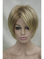 cheap -New Light Brown Shadow Roots And Blonde Tip short straight women's synthetic wig