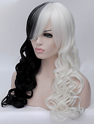 Black And White And Double Color Long Curly Hair Wig
