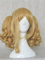 cheap -Synthetic Hair Wigs Water Wave Side Part With Ponytail With Bangs Cosplay Wig Blonde