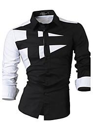 billige -Herre-Farveblok Afslappet Skjorte