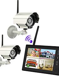 """baratos -novo 4 canais sem fio DVR quad 2 câmeras com 7 """"TFT-LCD monitor de sistema de segurança em casa"""