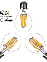 cheap -ONDENN 3pcs 2800-3200 lm E26/E27 LED Filament Bulbs A60(A19) 8 leds COB Dimmable Warm White AC 110-130V AC 220-240V