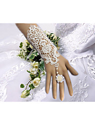 cheap -Cotton Wrist Length Elbow Length Glove Charm Stylish Bridal Gloves Party/ Evening Gloves With Embroidery Floral Solid