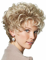 Women Synthetic Wig Short Curly Kinky Curly Light Blonde With Bangs Black Wig Natural Wigs Costume Wig