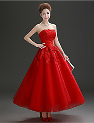 cheap -A-Line Strapless Ankle Length Tulle Vintage Inspired Formal Evening Dress with Crystals / Lace by
